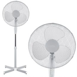 White 16 inch Oscillating Pedestal Floor Standing Electric Office Stand Fan